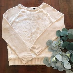 Forever 21 Faux Fur Sweater in Cream